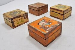 Vintage Wooden Set Of 4 Small Square Boxes Original Old Hand Crafted Painted
