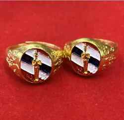 10x Ring Ai Kai Kumanthong Flag Color Thai Amulet Wat Jedee Temple Wealth Lucky