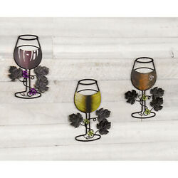 Wall Metal Wire Wine Art Red Wine White Wine amp; Sparkling Rose Glass Set of 3