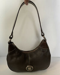 Dooney Bourke Donegal Brown Leather Hobo Small Zip Top Shoulder Bag Purse Pocket $29.99
