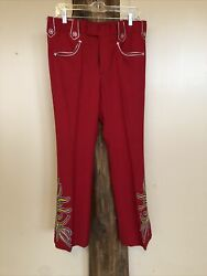 Nudies Rodeo Tailors Pants Authentic Red Western 33 Inch Waist