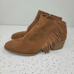 Womenandrsquos Size 7.5 Fringe Western Ankle Boots Brown By Universal Thread