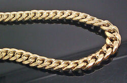 14k Gold Cuban Link Mens Chain Necklace 20 Inch 10mm Box Lobster Lock