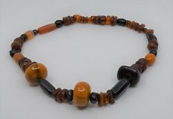 Vintage Hand Made Multi-colored Baltic Black Butterscotch Amber Bead Necklace