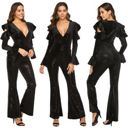 Women's Sexy V Neck Long Sleeve Flared Pant Jumpsuit Romper Sequins Clubwear