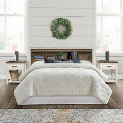Bed Headboard Bedroom Bookcase Wood Storage Shore 2 Usb Ports King Full Queen