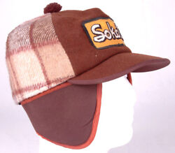 Vtg Sokota Hat-brown Plaid-ear Flaps-patch-agriculture Farm Seed-l-quilted Cap