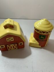 John Deere Farm Barn And Silo Ceramic Salt And Pepper Shakers Set Collectibles Red