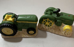 John Deere Tractors Salt And Pepper Shakers Ceramic Collectible Green And Yellow