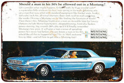 1966 Ford Mustang Hardtop Vintage Look Reproduction Metal Sign 8 X 12
