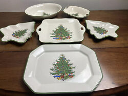 6 Cuthbertson Dickens Christmas Tree Creme Serving Platters Party Serve Vtglot