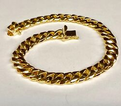 10kt Solid Yellow Gold Handmade Curb Link Mens Chain/bracelet 9.5 42 Grms 8.5mm