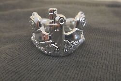 Us Navy Licensed Submarine Dolphin Pin Badge Ring Solid .925 Sterling Size 9