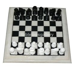 12x12 Black And White Marble Chess Game Set With Pieces Playroom Decor Gift H010