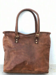 16quot; Leather Shopping Tote Satchel Laptop Women#x27;s Handmade Shoulder Hobo Hiking $46.50