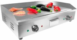 Aldkitchen Griddle Teppanyaki Half Flat And Half Grooved Grill Double Thermostat