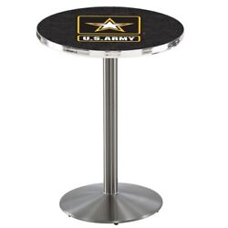 Holland Bar Stool Co. L214s3636army 36 Stainless Steel U.s. Army Pub Table,36