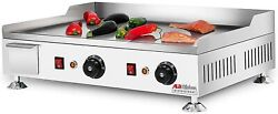 Aldkitchen Flat Top Griddle Teppanyaki Grill With Dual Thermostat No Plug 110v