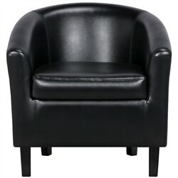 Pvc Leather Barrel Chair Contemporary Style For Living Room Black Renewed