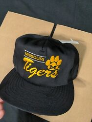 Vintage 90s Nos Missouri Tigers Script Snapback Hat Cap Annco Spell Out Nwt