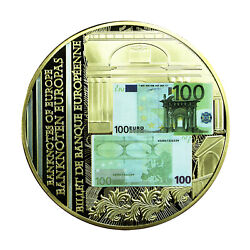 01143 Europe 2010 Medal 70mm 100 Euro Banknote Gold Plated 111g