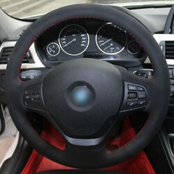 Black Suede Red Thread Car Steering Wheel Cover For Bmw F30 316i 320i 328i