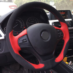 Black Suede Red Leather Car Steering Wheel Cover For Bmw F30 316i 320i 328i