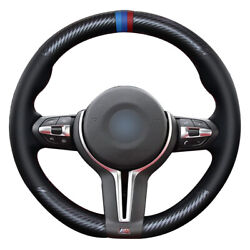 Carbon Fiber Leather Black Leather Steering Wheel Cover For Bmw F87 M2 F80 M3