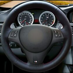Black Leather Red Thread Car Steering Wheel Cover For Bmw M3 2009-2013 E92