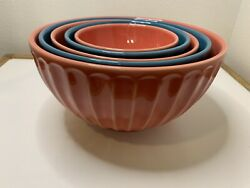 Primagera Teal And Coral/peach Orange Mixing Bowl Set Of 5 Made In Portugal Euc