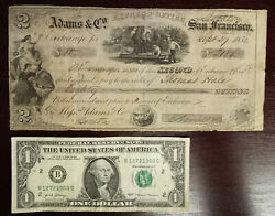+ 1852 80 Adams And Co Express Office San Francisco Second Bill Of Exchange +