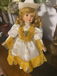 Paradise Galleries Porcelain Dolls Delta Dawn Cowgirl Musical Wind Up