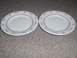 Longaberger Set Of 2 Longaberger Bread Plates In Traditional Red New-other