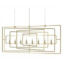 Currey 9542 Gold Leaf Metro 8 Light Candle Style Chandelier