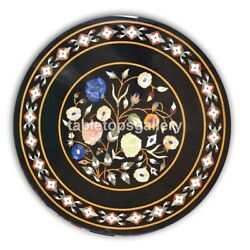 36 Black Marble Round Dining Table Top Mosaic Floral Inlay Interior Decor B393a