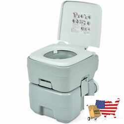 Portable Toilet Outdoor 5.3 Gallon 20l With Level Indicator For Rv Travel Campin