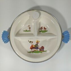 Vintage Majestic Baby Child Divided Food Dish Heated Cooled Rare Blue Handles