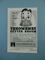 1963 Throwaway Gutter Broom See It Up Close At Public Works Show Sales Art Ad