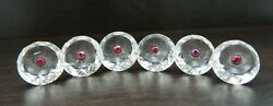 Set Of Elegant Antique 19th Century European Silver, Rock Crystal And Ruby Buttons
