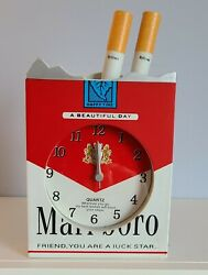 Vintage Marlboro Cigarette Pack Clock, A Beautiful Day Collectable Nos