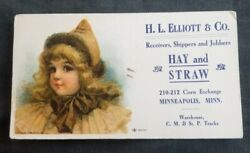 1900s H.l.elliott And Co Hay And Straw Minneapolis Ink Blotter Hayes Litho 2035