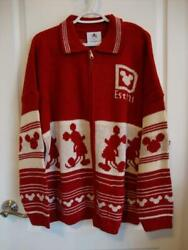 Disney Christmas Holiday 2020 Red And White Cardigan Sweater Spirit Jersey Size Xl