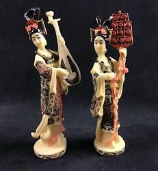 Geisha Chinese Art Figurines Instruments Lot Of 2 A