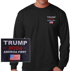 TRUMP 2024 AMERICA FIRST BLACK LONG SLEEVE EMBROIDERED T SHIRT