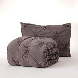 Dawn 2-piece Comforter Set In Pleated Washed Charcoal | Twin/twin Xl Size | Comp