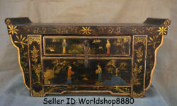 20.4 Antique China Wood Lacquerware Painting Beauty Drawer Table Desk Furniture