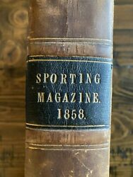 Sporting Magazine 1858 Horseracing London Review Equestrian Book Antique Leather