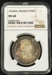 1964 Mo Mexico Peso Silver Gem Brilliant Uncirculated Mint State Ngc Ms68