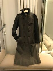Gaberdine And Leather Trench Coat - Colour Army Green Size Uk8