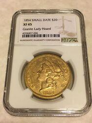 1854 Xf45 Ngc Liberty Double Eagle 20 Gold Coin Pq Granite Lady No Pcgs